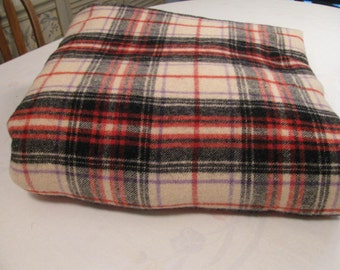 "Beautiful Vintage Wool Tartan Plaid Double Length Blanket - Red Black and Cream - 72"" W by 144"" L - Medium Weight -"