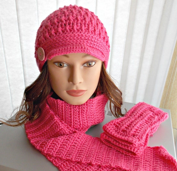 Crocheted Hat, Scarf, and Fingerless Glove Set - Brim, Button, Bright Pink, Winter Fashion, Accessory Set, Handmade