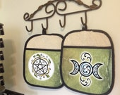 Kitchen Witch Mix and Match Set of 2 Oven Mitts