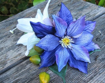 Tropical  Purple clematis and white lily flowers  hair clip - Wedding-