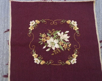 Vintage Completed Floral Needlepoint in Rich Chocolate Brown