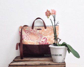SALE Large foldover tote block print and waxed canvas day bag with leather handles