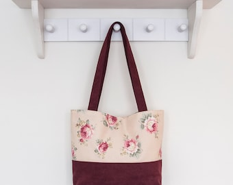 Burgundy and pink Rose tote