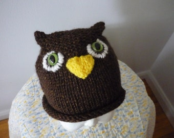 Owl Knit Stocking Cap with Rolled Brim  XS Child