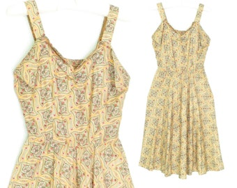 40s Dress * 1940s Vintage Sundress * Summer Dress * Sun Dress * XS