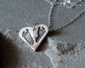 Heart Shaped Personalized Footprint Necklace in Fine Silver