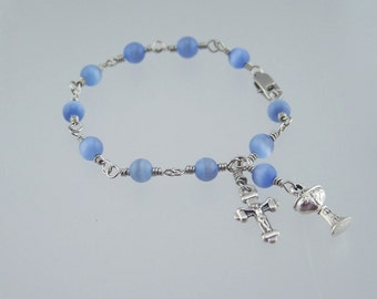 Light Blue Rosary Bracelet with Your Choice Saint or Medal