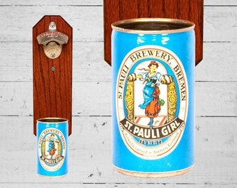 Boyfriend Gift St. Pauli Girl Wall Mounted Bottle Opener with Vintage Beer Can Cap Catcher