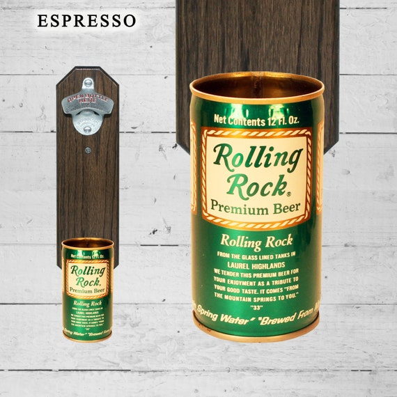 Rolling Rock Wall Mounted Bottle Opener with Vintage Beer Can Cap Catcher - Gift for Groomsmen