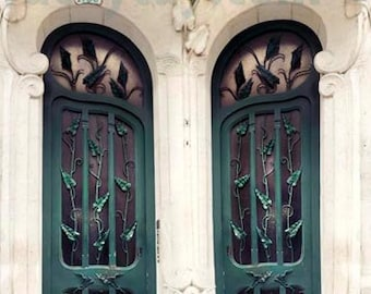 Paris Door Print, Teal Door, Green, Beige, Travel, Art Nouveau Door, Architecture, Teal Green, Paris Print,  No 33