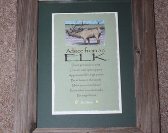 Framed Postcard - Advice From an Elk - Your True Nature - Western - Rustic