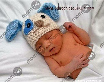 Newborn Baby Puppy Hat, Puppy Hat for a baby boy, Newborn Puppy Hat, Baby Girl Puppy hat, Blue puppy hat, Newborn Photography Prop, Pink Hat
