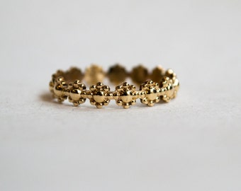 Skinny solid gold ring, Simple wedding ring, nature ring, stacking ring, Boho ring, floral ring, simple band, dainty ring - Trip RG2231