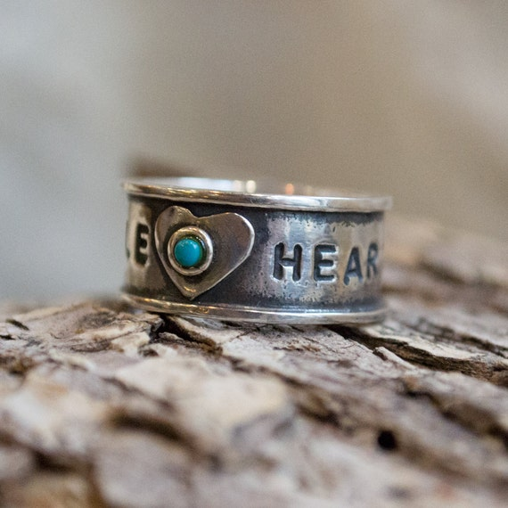 Promise band, message band, Personalized Hand-Stamped Band, sterling silver ring, promise ring, Valentines day ring - Faith and Dream R1572A