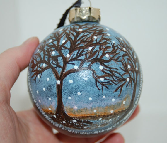 "Hand Painted ""First Snow of Winter"" Glass Christmas Tree Ornament"
