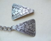 Vintage Clasp. Buckle. Dogwood flower. Embossed Clasp or buckle Large Unique Finding. Aluminum, Flower and Leaf. Triangle