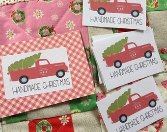 red truck handmade christmas fabric labels
