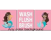 Mermaid Bathroom Art, Kids Bathroom Art, Pink, Mermaids, Wash Brush Flush, Toddler Girls Bathroom Decor, Nautical Bathroom Art, Set of 3
