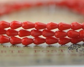 Faceted Crystal Teardrop Glass Briolette Beads 3x5mm, Opaque Red -(#SS03-39) /95 beads/ strand