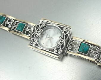Turquoise 925 Silver Watch, Handmade Fine 9k yellow gold 925 sterling Silver Filigree turquoise Bracelet Watch (s b 3010)