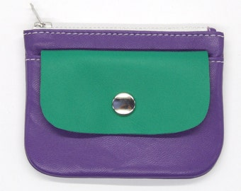 Leather coin purse, purple and green