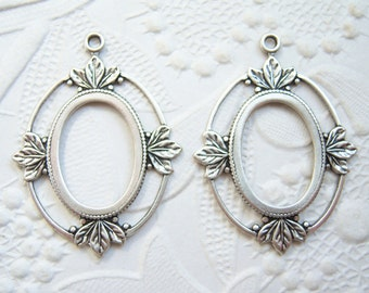 2 - 18x13mm antiqued  silver plated leaf settings -SS202
