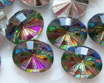 10x8mm vitrail medium rivoli star burst oval glass rhinestone lot of (6) - CF205