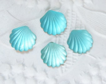 6 -8x7mm aqua carved shell frosted glass cabochons -VF144