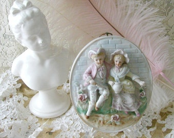 Vintage Pastel Bisque Victorian Couple in Garden, French Oval Bisque Figurine Plaque, Wall Plaque