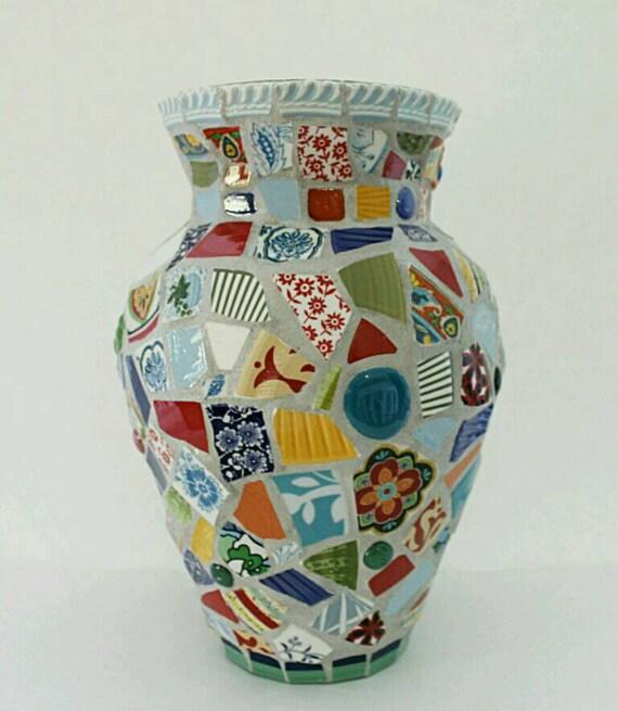 Broken Glass Vase: Mosaic Glass Vase