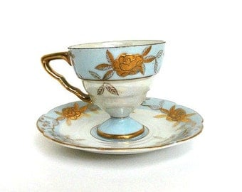 Austria Blue Lustreware Demitasse Teacup and Saucer//Vintage China Cup and Saucer Set//Drinkware