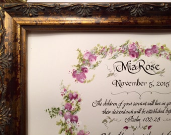 Baby Girl,Girl Baby Name, Custom Calligraphy, Roses, Victorian,Bible Art,Jeremiah1:5/Paper Only