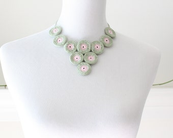 Crochet Sage Green and  light Pink Necklace