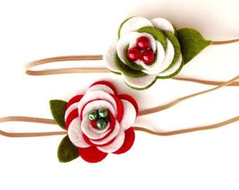 Felt headbands for girls. Set of two peppermint twist set with green felt leaves headbands. Two headbands