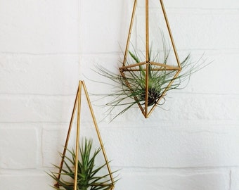 Structural Brass Planters, himmeli, air plant, Tillandsias, brass pipe, wall hanging, hanging planter,