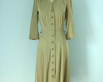 1940s Ken-tee Classic Golf Dress/ 30s Moss Green golf dress
