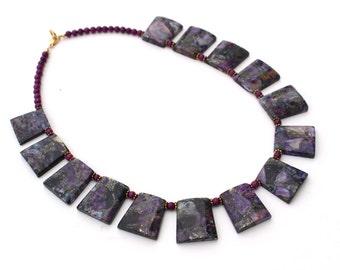 Purple Statement Necklace, Bib Necklace, Lavendar Necklace
