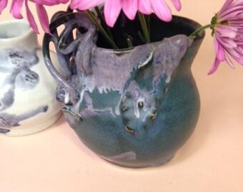 Forget Me Not, Porcelain Creamer Vase, Don Reitz lush Green Deco Sculptural Boho Home