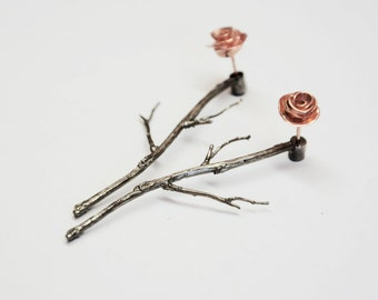 gift for mom - silver rose ear jackets, rose gold ear jackets, branches earrings,, rose gold silver ear studs, front back earrings