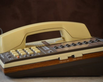 Vintage Telephone/GE One Touch Telephone/GE 32 Memory Phone/Brown Faux Wood Telephone/ ABS Model 2-9285D 5904S 1976