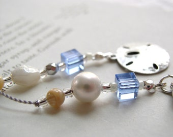 Summer Serenity Sand Dollar Book Thong - Beaded Bookmark with Pearl and Beach Sea Blue Cubes and Sterling Silver Accents