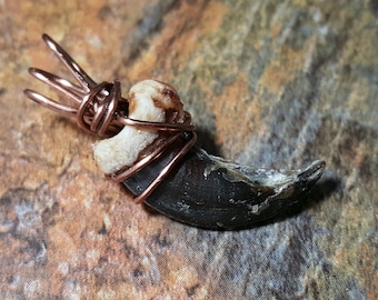 Midnight  - Real Wire Wrapped Wolf Claw Pendant - Timber Wolf
