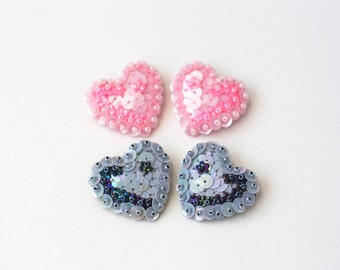 Floral Heart Brooch, Double Collar Brooches, Pink Grey Sequins, Valentines Day Gift, Flowers Felt Embroidery, Minimalistic kawaii Jewelry