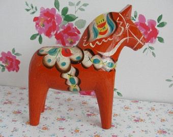 Vintage Swedish Nils Olsson Dala Dalarna Horse 8 1/4 Inch - 21 cm Wooden Horse Scandinavian Design