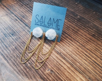 White Opalescent Drusy Quartz Gold Plated Chain Dangle Earrings Handmade in Indiana by Rana Salame Handcrafted Gemstone Jewelry Crystals