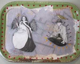 Collage art, 2D mixed media, vintage ephemera, found object art