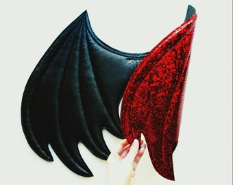 Red and Black Dragon Wings, wireless wings, Halloween costume, costume wings,  cosplay wings, cosplay dragon, pretend play, dress up
