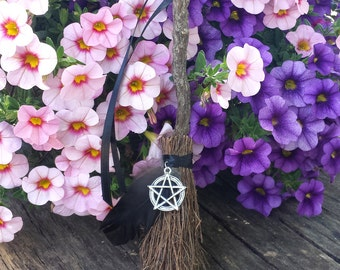 Altar Besom, Mini Besom, Witches Broom, Pentacle, Crow Feather