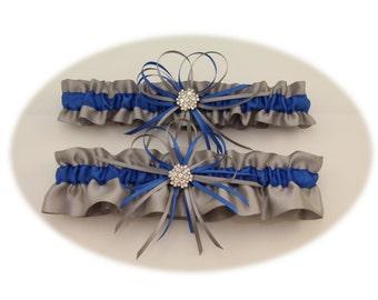 Silver/Gray and Royal Blue Wedding Garter, Bridal Garter, Prom Garter  (Your Choice, Single or Set)