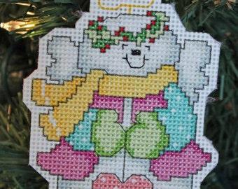Handmade Angel Snowman Cross Stitch Christmas Ornament
